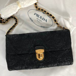 New PRADA Pattina Tessuto Lurex Shoulder Bag